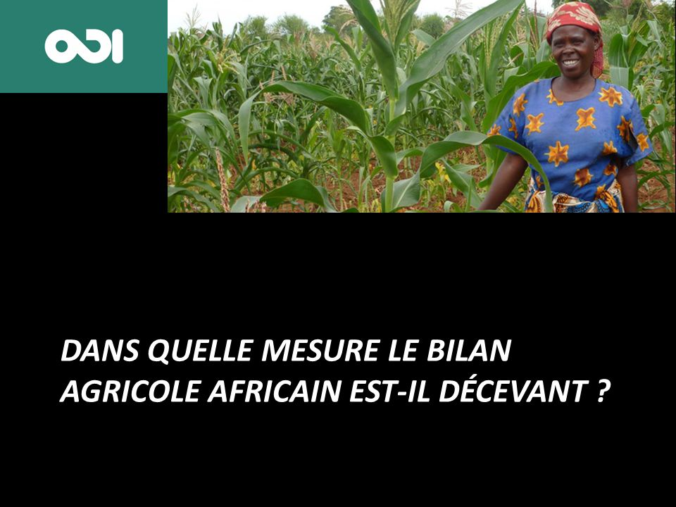 DANS QUELLE MESURE LE BILAN AGRICOLE AFRICAIN EST-IL DÉCEVANT
