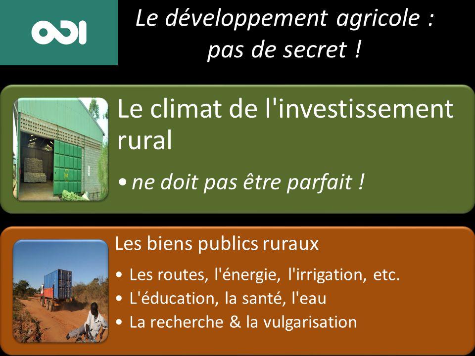 Le développement agricole : pas de secret ! Le climat de l'investissement rural ne doit pas être parfait ! Les biens publics ruraux Les routes, l'éner