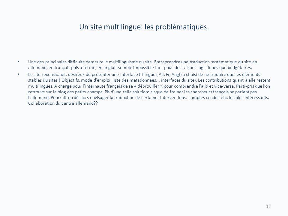 Un site multilingue: les problématiques. Une des principales difficulté demeure le multilinguisme du site. Entreprendre une traduction systématique du