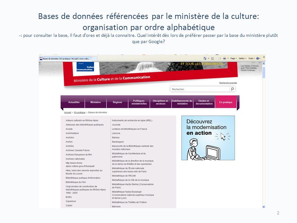 Bases de données référencées par le ministère de la culture: organisation par ordre alphabétique -: pour consulter la base, il faut dores et déjà la connaitre.