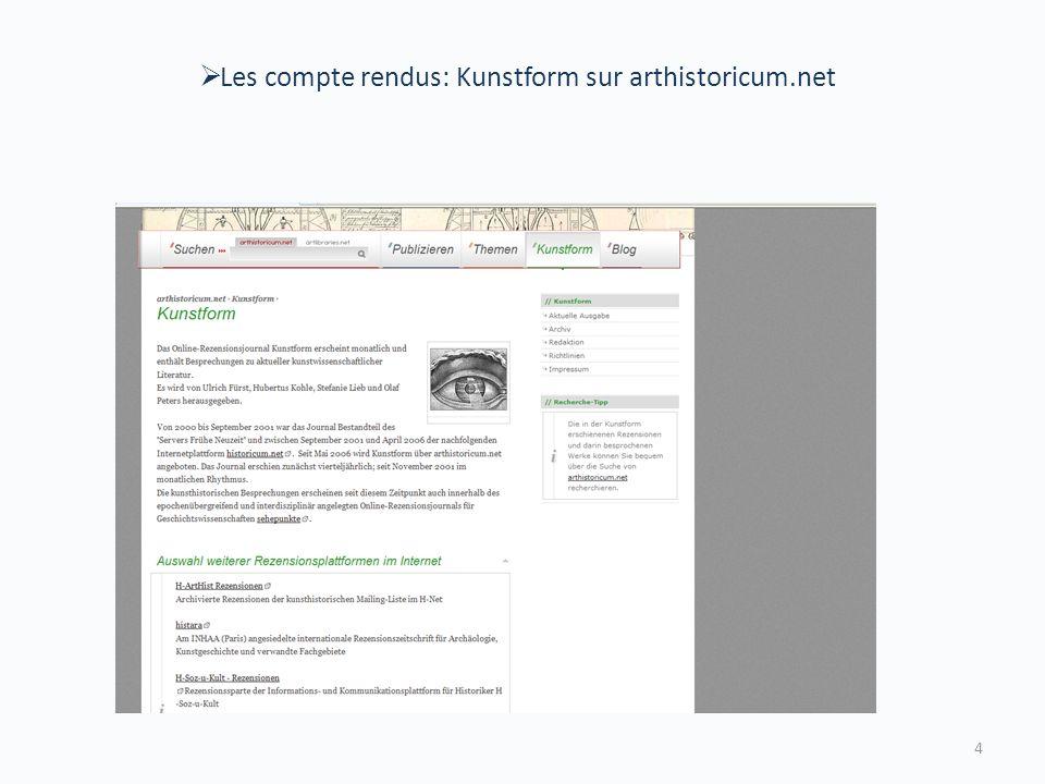Les compte rendus: Kunstform sur arthistoricum.net 4