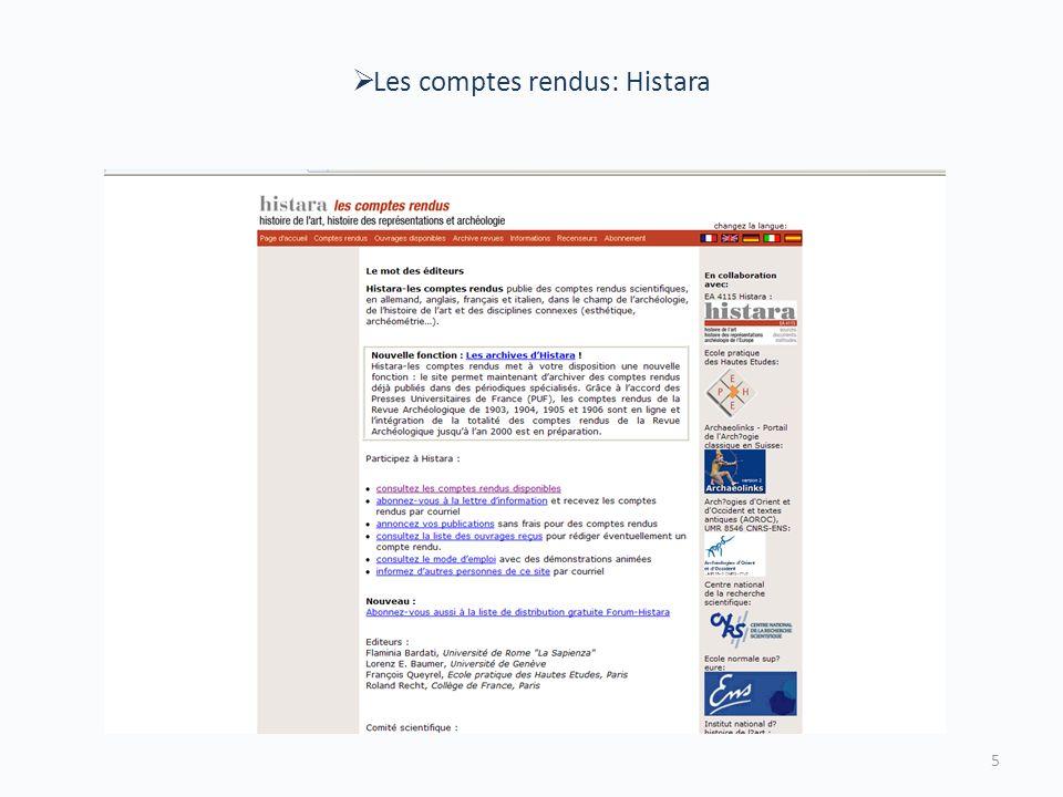 Les comptes rendus: Histara 5