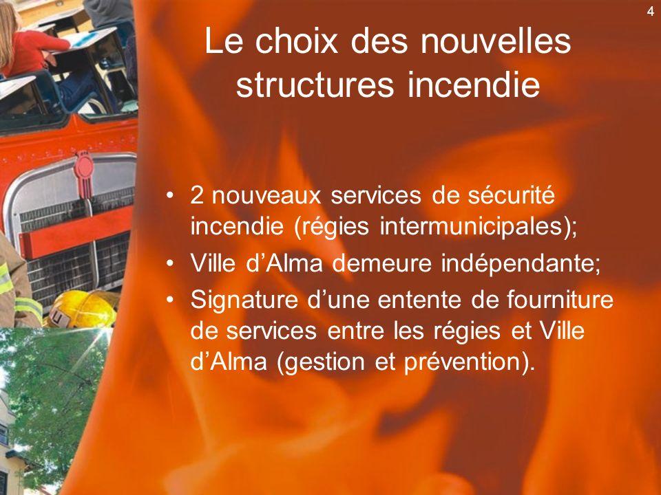 4 2 nouveaux services de sécurité incendie (régies intermunicipales); Ville dAlma demeure indépendante; Signature dune entente de fourniture de servic