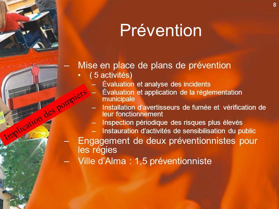 8 Prévention –Mise en place de plans de prévention ( 5 activités) –Évaluation et analyse des incidents –Évaluation et application de la réglementation