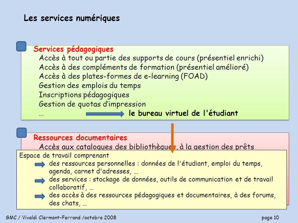 GMC / Vivaldi Clermont-Ferrand /octobre 2008 page 10 Services pédagogiques Accès à tout ou partie des supports de cours (présentiel enrichi) Accès à des compléments de formation (présentiel amélioré) Accès à des plates-formes de e-learning (FOAD) Gestion des emplois du temps Inscriptions pédagogiques Gestion de quotas dimpression … Services pédagogiques Accès à tout ou partie des supports de cours (présentiel enrichi) Accès à des compléments de formation (présentiel amélioré) Accès à des plates-formes de e-learning (FOAD) Gestion des emplois du temps Inscriptions pédagogiques Gestion de quotas dimpression … Les services numériques Ressources documentaires Accès aux catalogues des bibliothèques, à la gestion des prêts Consultation de documentation en ligne Accès aux services internes à la bibliothèque (préconisation dachat, ….) Service de consultation multiple (moteur de recherche sur différents supports et ressources référencées) outil de dépôt, référencement et indexation Ressources documentaires Accès aux catalogues des bibliothèques, à la gestion des prêts Consultation de documentation en ligne Accès aux services internes à la bibliothèque (préconisation dachat, ….) Service de consultation multiple (moteur de recherche sur différents supports et ressources référencées) outil de dépôt, référencement et indexation le bureau virtuel de l étudiant Espace de travail comprenant des ressources personnelles : données de l étudiant, emploi du temps, agenda, carnet d adresses, … des services : stockage de données, outils de communication et de travail collaboratif, … des accès à des ressources pédagogiques et documentaires, à des forums, des chats, …