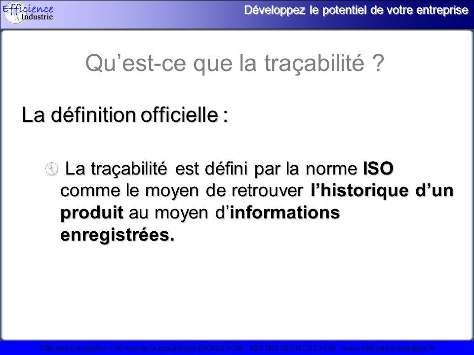 Efficience Industrie – 30 rue de la république 69002 LYON - 483 783 353 RCS LYON - www.efficience-industrie.fr Développez le potentiel de votre entreprise A quoi sert un système de traçabilité .