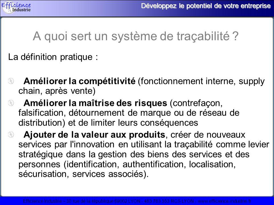Efficience Industrie – 30 rue de la république 69002 LYON - 483 783 353 RCS LYON - www.efficience-industrie.fr Développez le potentiel de votre entreprise Où sapplique la traçabilité .