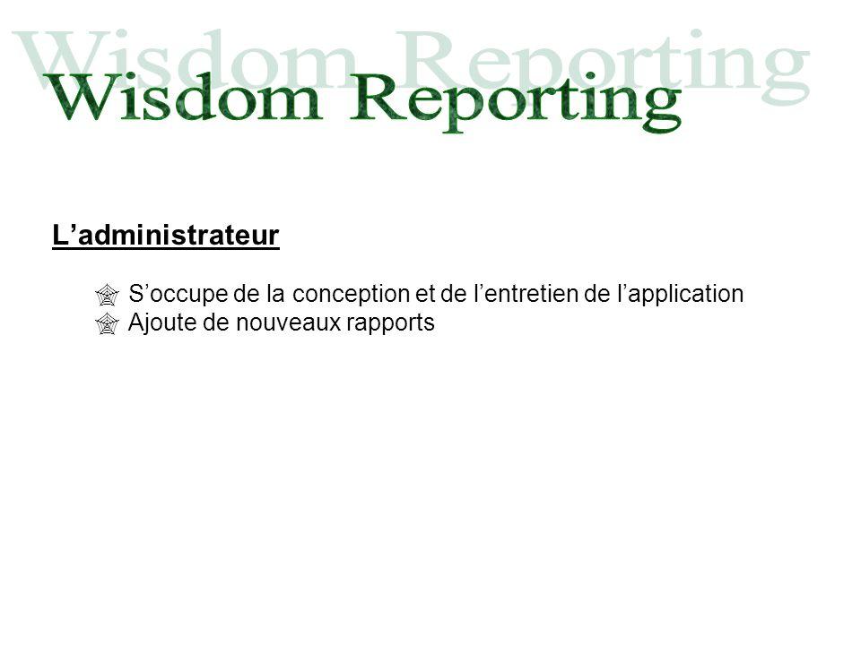 Ladministrateur Soccupe de la conception et de lentretien de lapplication Ajoute de nouveaux rapports
