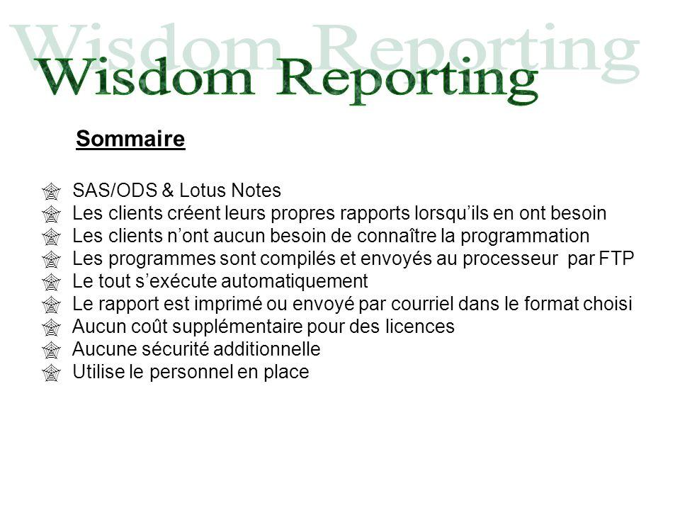 Sommaire SAS/ODS & Lotus Notes Les clients créent leurs propres rapports lorsquils en ont besoin Les clients nont aucun besoin de connaître la program