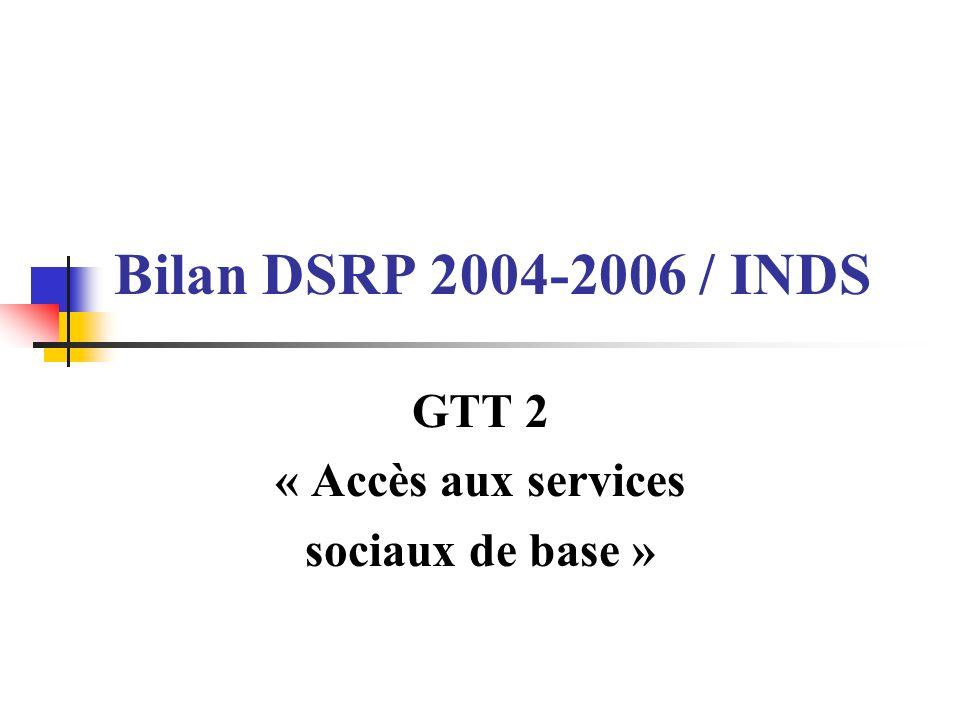 Bilan DSRP 2004-2006 / INDS GTT 2 « Accès aux services sociaux de base »