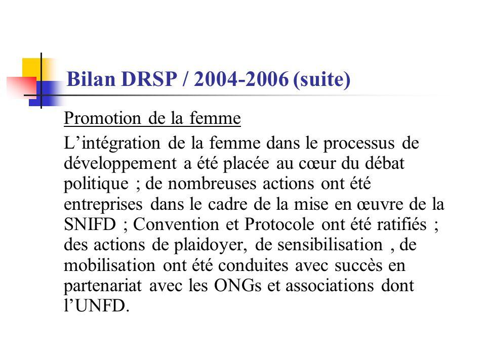 Bilan DRSP / 2004-2006 (suite) Promotion de la femme Lintégration de la femme dans le processus de développement a été placée au cœur du débat politique ; de nombreuses actions ont été entreprises dans le cadre de la mise en œuvre de la SNIFD ; Convention et Protocole ont été ratifiés ; des actions de plaidoyer, de sensibilisation, de mobilisation ont été conduites avec succès en partenariat avec les ONGs et associations dont lUNFD.