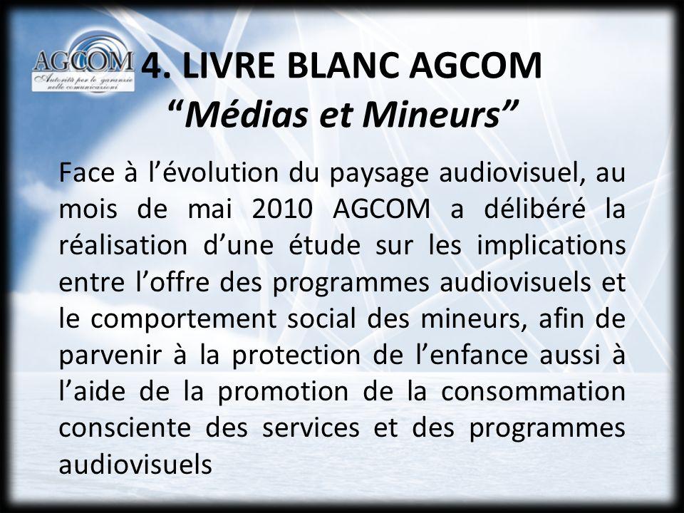 4. LIVRE BLANC AGCOMMédias et Mineurs Face à lévolution du paysage audiovisuel, au mois de mai 2010 AGCOM a délibéré la réalisation dune étude sur les