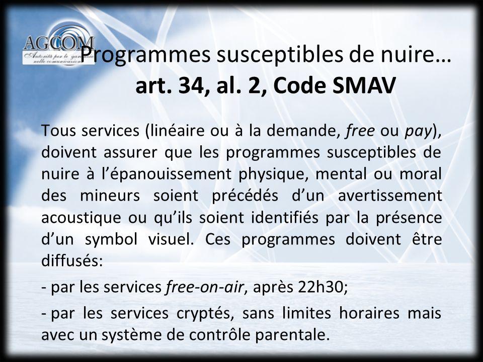 SERVICES LINÉAIRES Art.34, al.