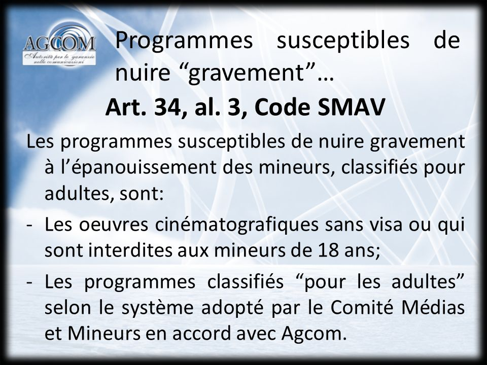 Les programmes definis par lart.34, al.