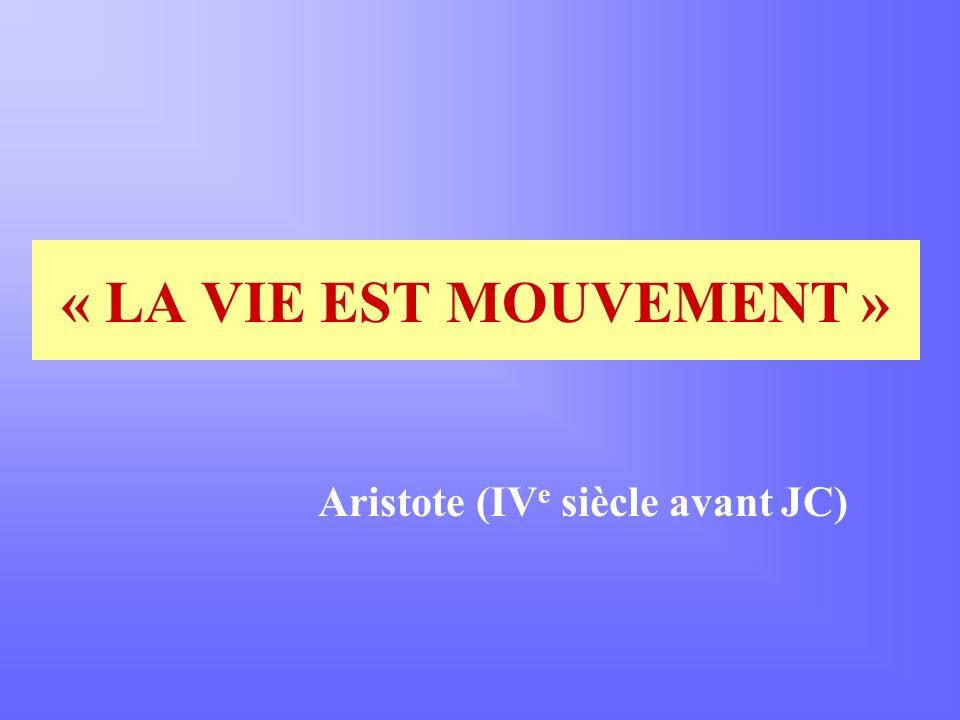 « LA VIE EST MOUVEMENT » Aristote (IV e siècle avant JC)