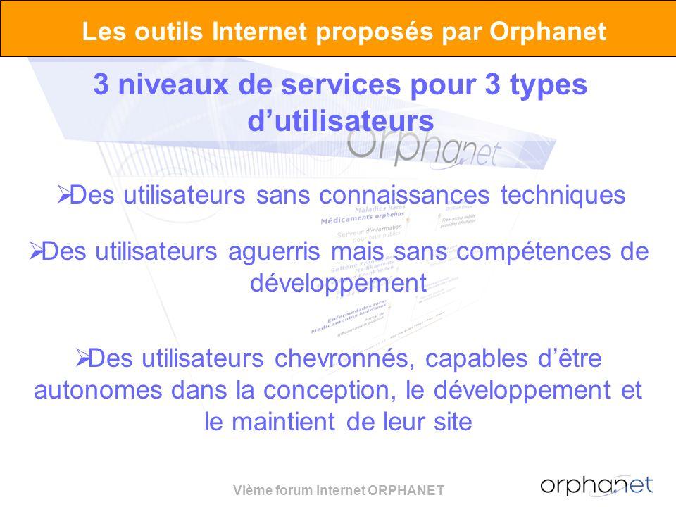 Vième forum Internet ORPHANET Les outils Internet proposés par Orphanet 3 niveaux de services pour 3 types dutilisateurs Des utilisateurs sans connaissances techniques Des utilisateurs aguerris mais sans compétences de développement Des utilisateurs chevronnés, capables dêtre autonomes dans la conception, le développement et le maintient de leur site