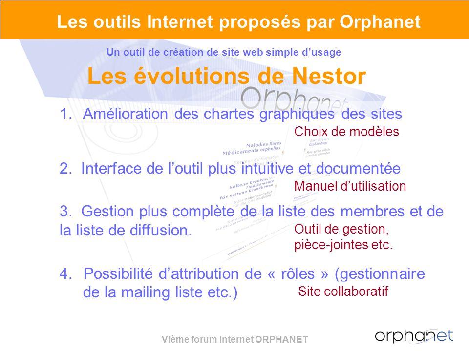 Vième forum Internet ORPHANET Les outils Internet proposés par Orphanet Un outil de création de site web simple dusage Les évolutions de Nestor 4. Pos