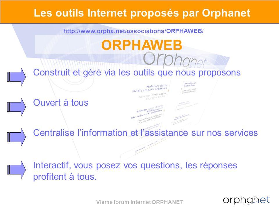 Vième forum Internet ORPHANET Les outils Internet proposés par Orphanet http://www.orpha.net/associations/ORPHAWEB/ ORPHAWEB Construit et géré via les outils que nous proposons Ouvert à tous Centralise linformation et lassistance sur nos services Interactif, vous posez vos questions, les réponses profitent à tous.