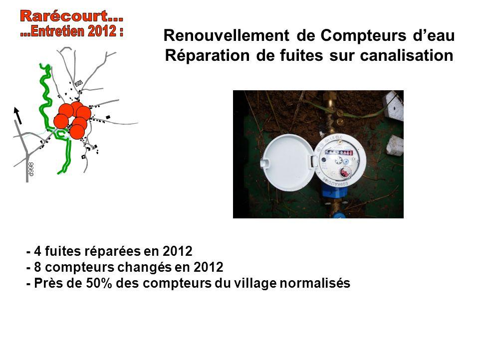 Renouvellement de Compteurs deau Réparation de fuites sur canalisation - 4 fuites réparées en 2012 - 8 compteurs changés en 2012 - Près de 50% des com