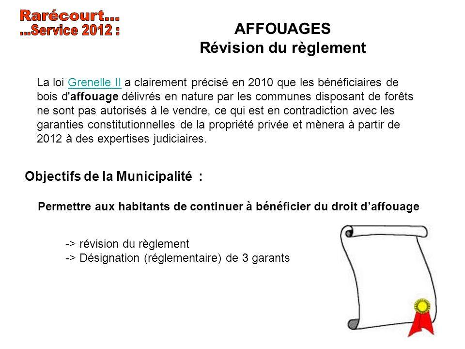 AFFOUAGES Révision du règlement Objectifs de la Municipalité : Permettre aux habitants de continuer à bénéficier du droit daffouage La loi Grenelle II