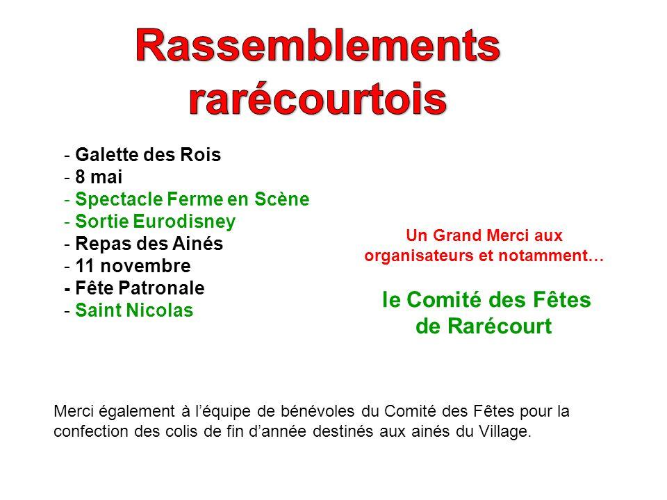 - Galette des Rois - 8 mai - Spectacle Ferme en Scène - Sortie Eurodisney - Repas des Ainés - 11 novembre - Fête Patronale - Saint Nicolas Un Grand Me