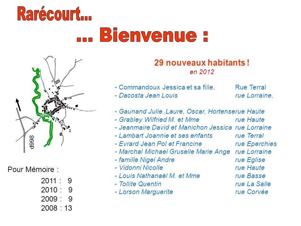 29 nouveaux habitants ! en 2012 - Commandoux Jessica et sa fille. Rue Terral - Dacosta Jean Louisrue Lorraine, - Gaunand Julie,Laure, Oscar, Hortenser