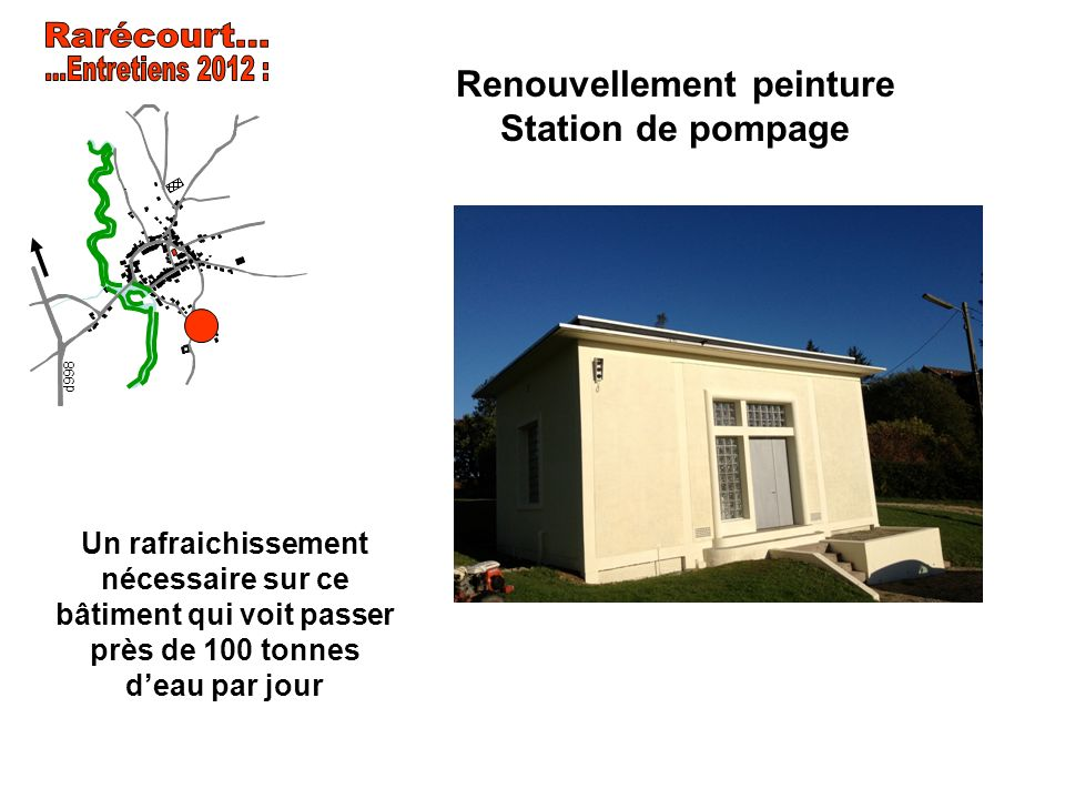 Renouvellement peinture Station de pompage d998 Un rafraichissement nécessaire sur ce bâtiment qui voit passer près de 100 tonnes deau par jour
