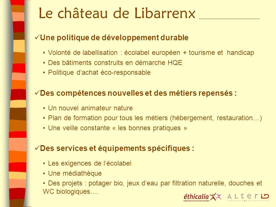Le château de Libarrenx Une politique de développement durable Volonté de labellisation : écolabel européen + tourisme et handicap Des bâtiments const