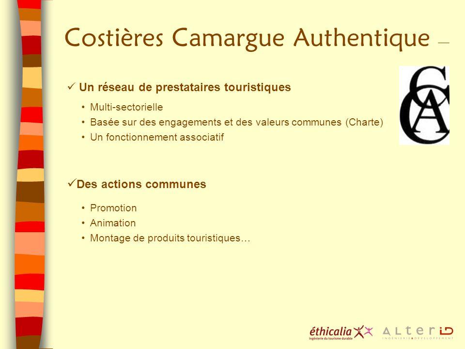 Costières Camargue Authentique Un réseau de prestataires touristiques Multi-sectorielle Basée sur des engagements et des valeurs communes (Charte) Un