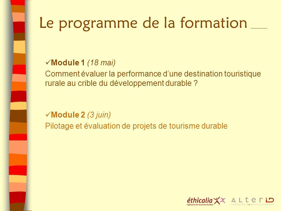 Le programme de la formation Module 1 (18 mai) Comment évaluer la performance dune destination touristique rurale au crible du développement durable ?