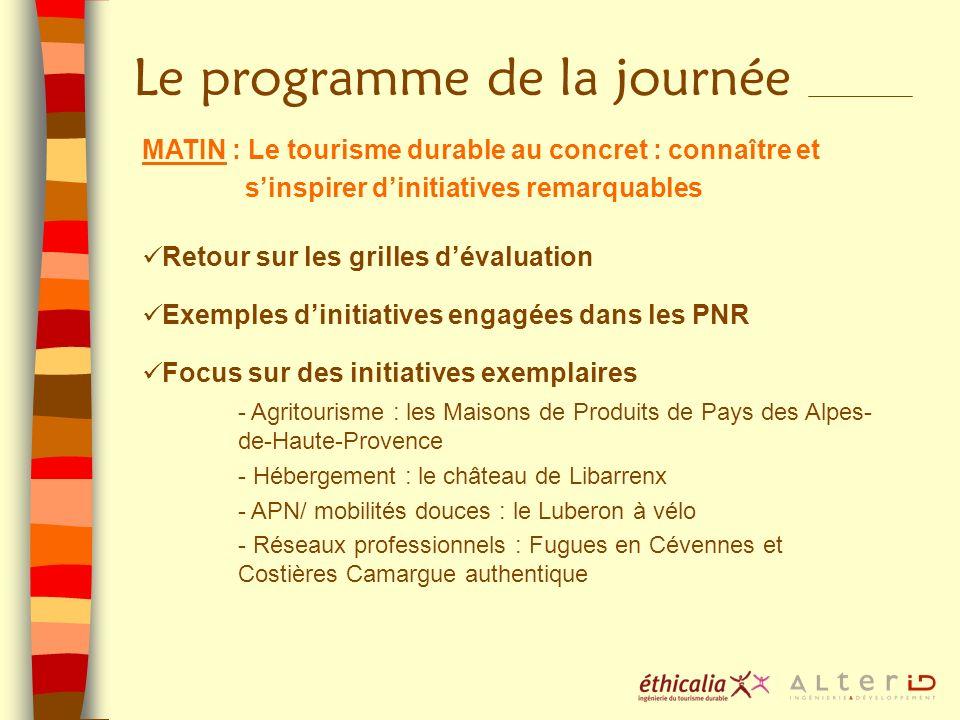 Le programme de la journée MATIN : Le tourisme durable au concret : connaître et sinspirer dinitiatives remarquables Retour sur les grilles dévaluatio