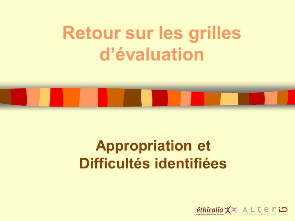 Retour sur les grilles dévaluation Appropriation et Difficultés identifiées