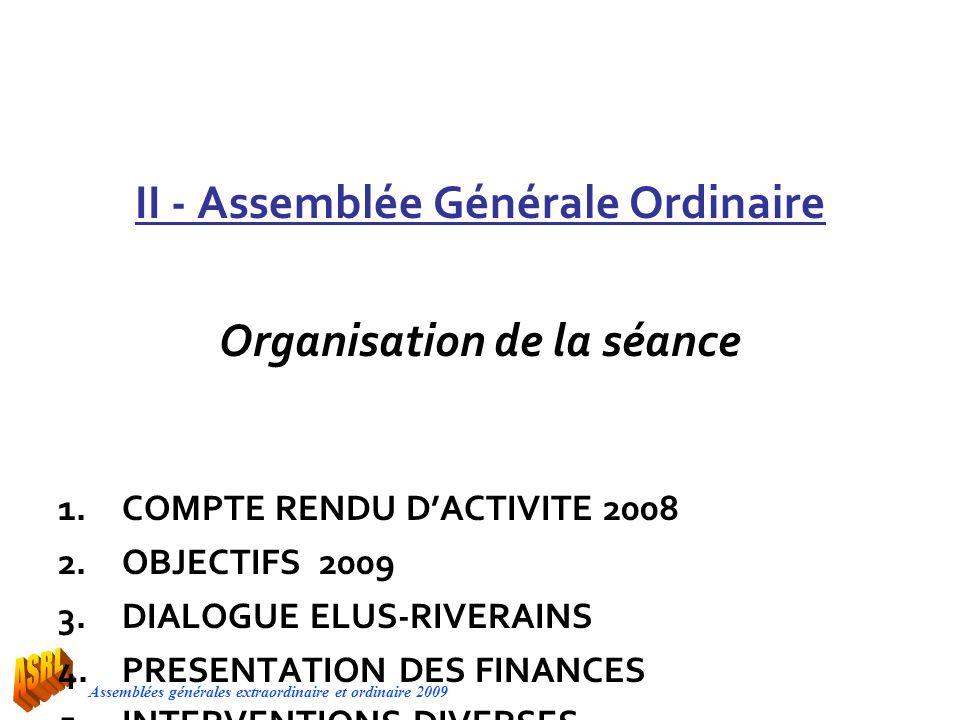 Assemblées générales extraordinaire et ordinaire 2009 II - Assemblée Générale Ordinaire Organisation de la séance 1.COMPTE RENDU DACTIVITE 2008 2.OBJE