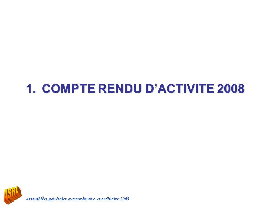 Assemblées générales extraordinaire et ordinaire 2009 1.COMPTE RENDU DACTIVITE 2008