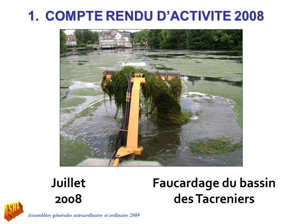 Assemblées générales extraordinaire et ordinaire 2009 Juillet 2008 1.COMPTE RENDU DACTIVITE 2008 Faucardage du bassin des Tacreniers