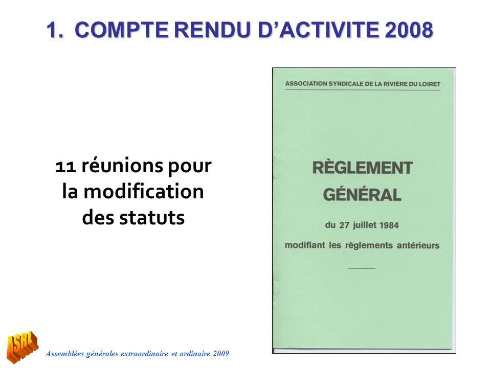 Assemblées générales extraordinaire et ordinaire 2009 1.COMPTE RENDU DACTIVITE 2008 11 réunions pour la modification des statuts
