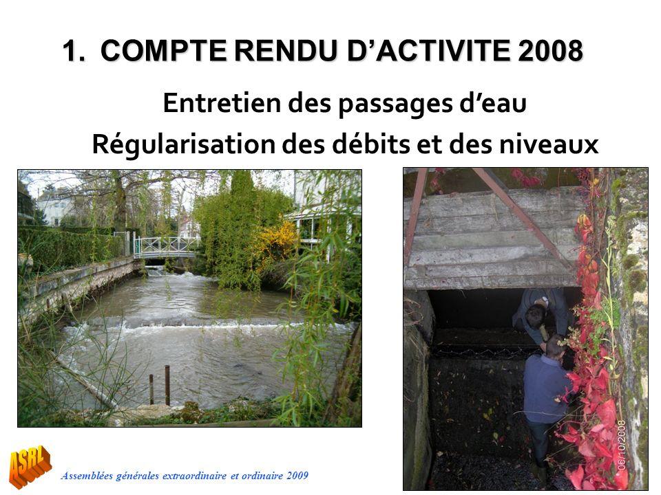 Assemblées générales extraordinaire et ordinaire 2009 Entretien des passages deau Régularisation des débits et des niveaux 1.COMPTE RENDU DACTIVITE 20