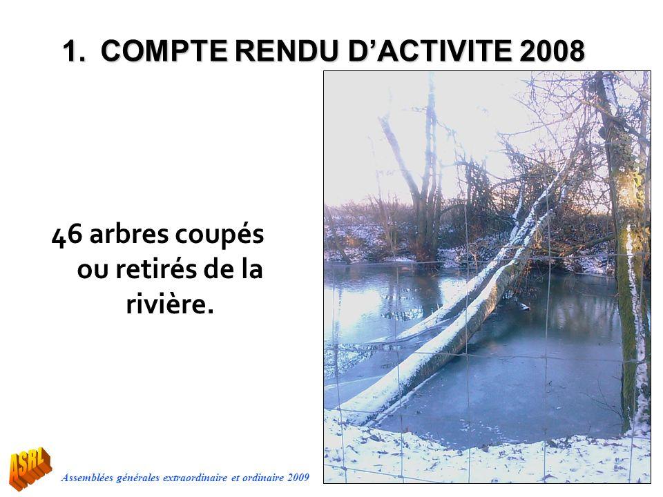 Assemblées générales extraordinaire et ordinaire 2009 46 arbres coupés ou retirés de la rivière. 1.COMPTE RENDU DACTIVITE 2008