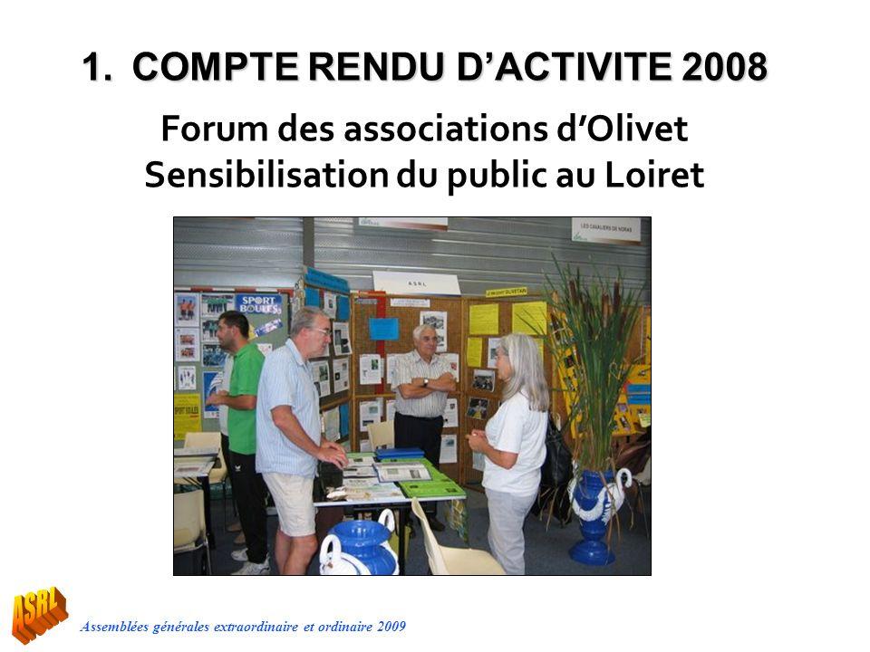 Assemblées générales extraordinaire et ordinaire 2009 Forum des associations dOlivet Sensibilisation du public au Loiret 1.COMPTE RENDU DACTIVITE 2008