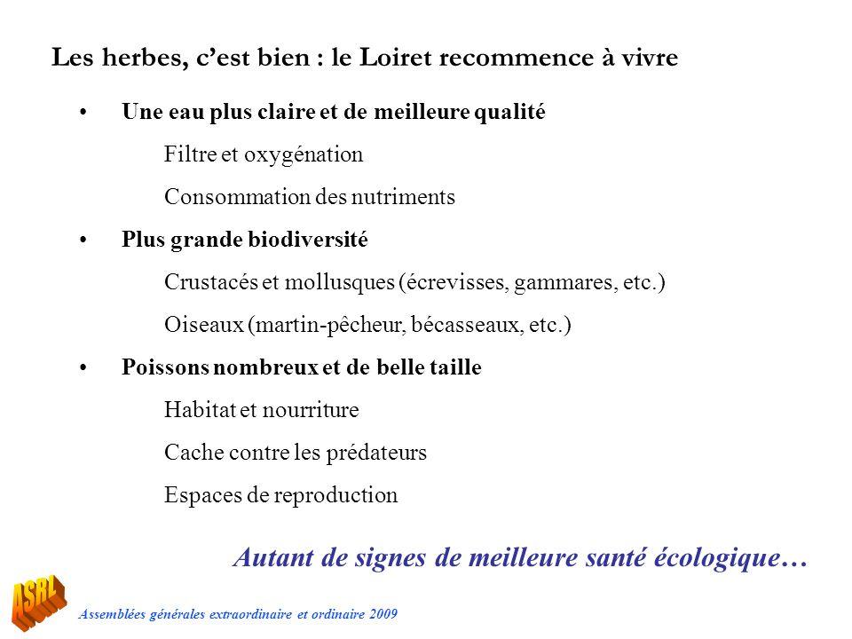 Assemblées générales extraordinaire et ordinaire 2009 Les herbes, cest bien : le Loiret recommence à vivre Une eau plus claire et de meilleure qualité