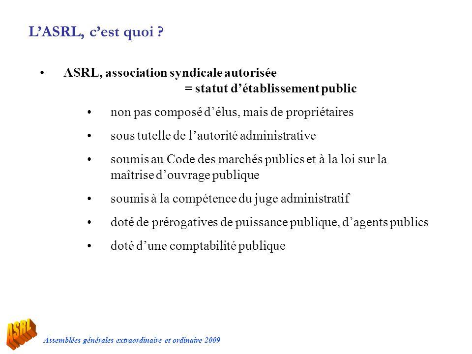 Assemblées générales extraordinaire et ordinaire 2009 LASRL, cest quoi ? ASRL, association syndicale autorisée = statut détablissement public non pas