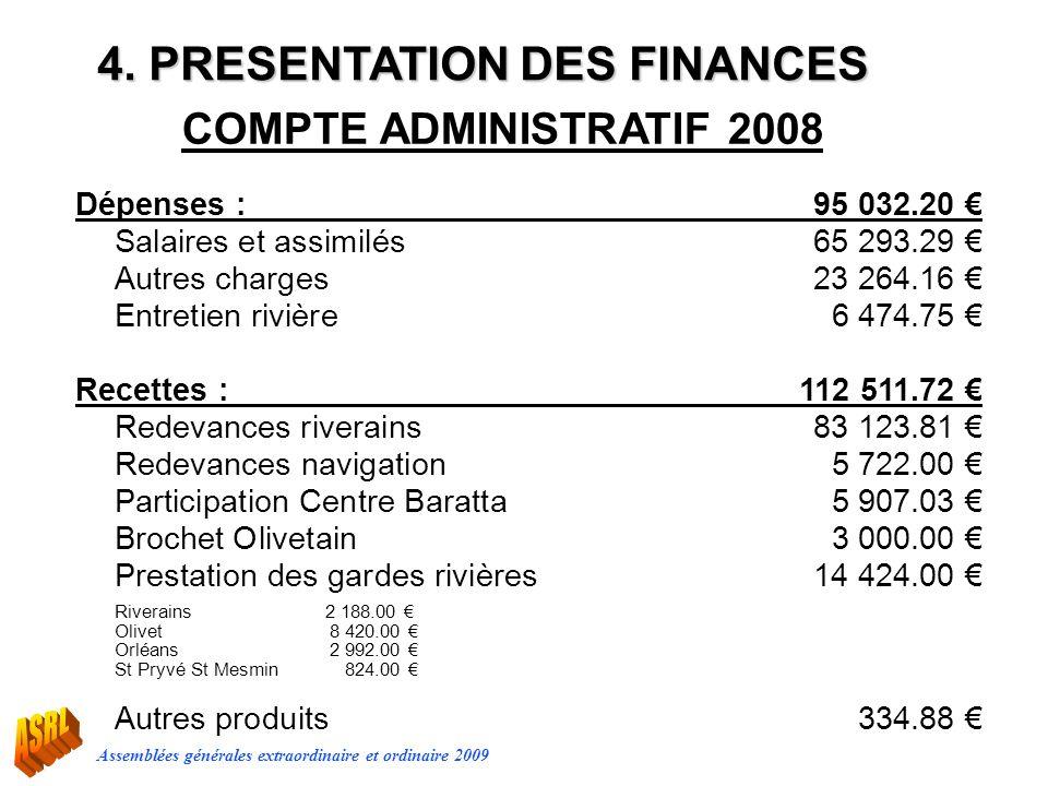 Assemblées générales extraordinaire et ordinaire 2009 Dépenses :95 032.20 Salaires et assimilés65 293.29 Autres charges23 264.16 Entretien rivière6 47