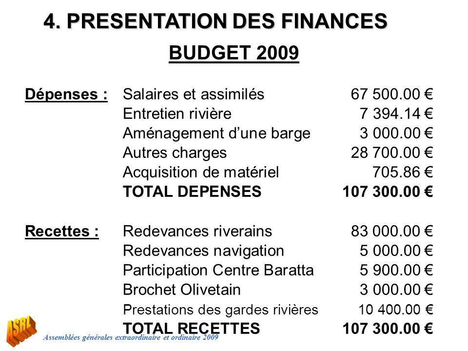 Assemblées générales extraordinaire et ordinaire 2009 4. PRESENTATION DES FINANCES BUDGET 2009 Dépenses :Salaires et assimilés67 500.00 Entretien rivi