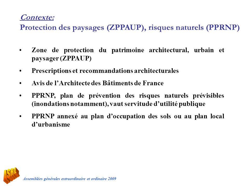 Assemblées générales extraordinaire et ordinaire 2009 Contexte: Protection des paysages (ZPPAUP), risques naturels (PPRNP) Zone de protection du patri