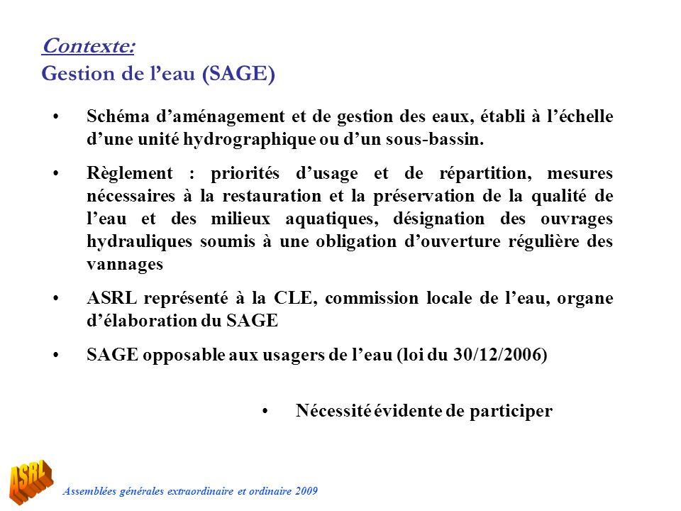 Assemblées générales extraordinaire et ordinaire 2009 Contexte: Gestion de leau (SAGE) Schéma daménagement et de gestion des eaux, établi à léchelle d