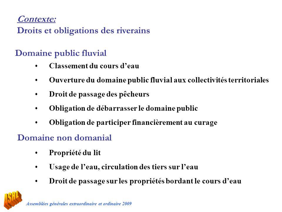 Assemblées générales extraordinaire et ordinaire 2009 Contexte: Droits et obligations des riverains Classement du cours deau Ouverture du domaine publ