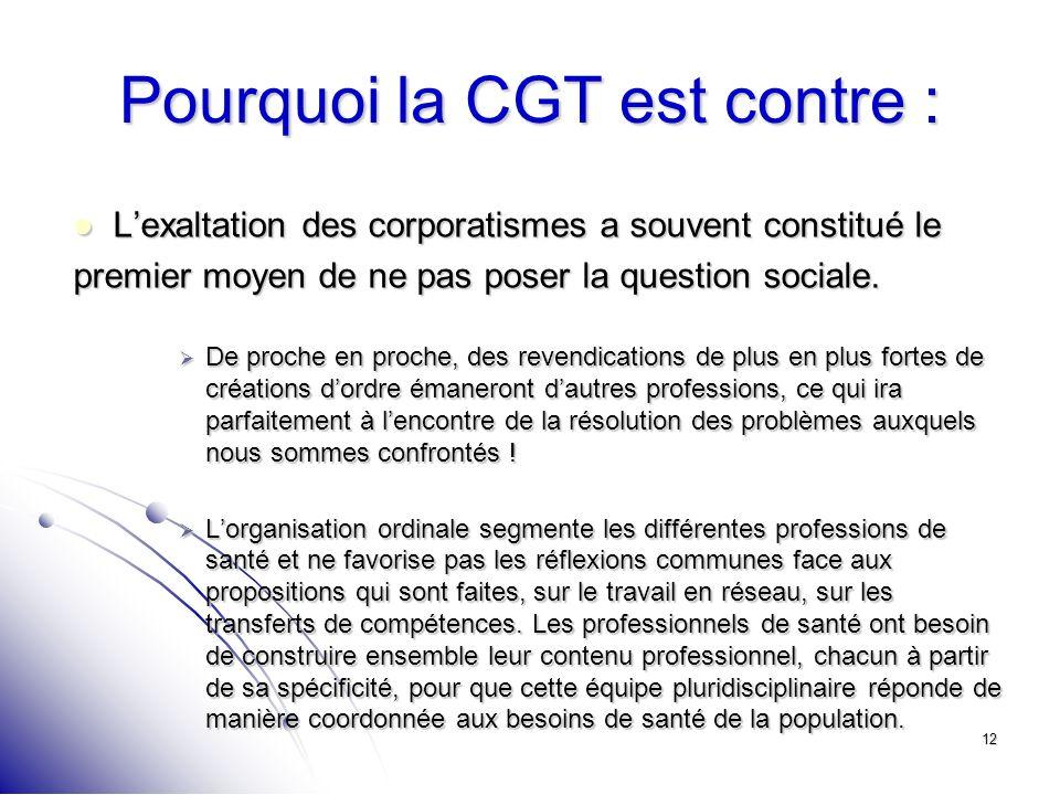 12 Pourquoi la CGT est contre : Lexaltation des corporatismes a souvent constitué le Lexaltation des corporatismes a souvent constitué le premier moye