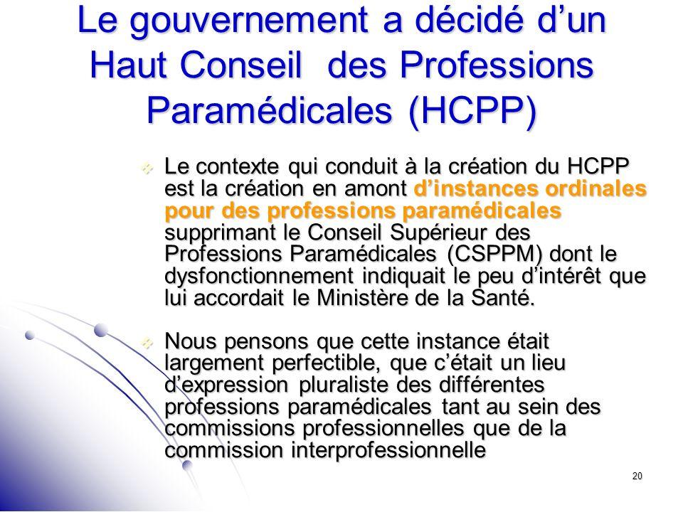 20 Le gouvernement a décidé dun Haut Conseil des Professions Paramédicales (HCPP) Le contexte qui conduit à la création du HCPP est la création en amo