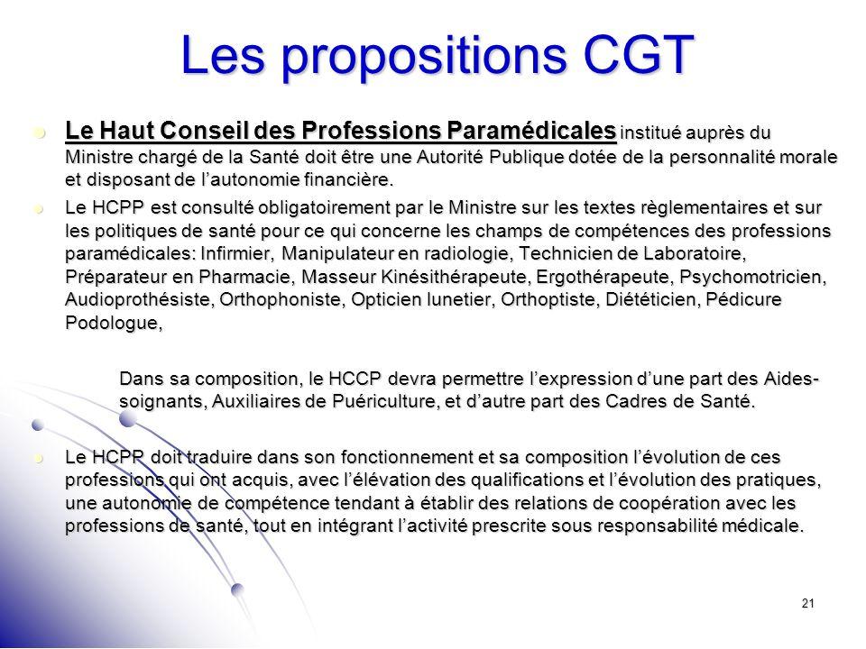 21 Les propositions CGT Le Haut Conseil des Professions Paramédicales institué auprès du Ministre chargé de la Santé doit être une Autorité Publique d