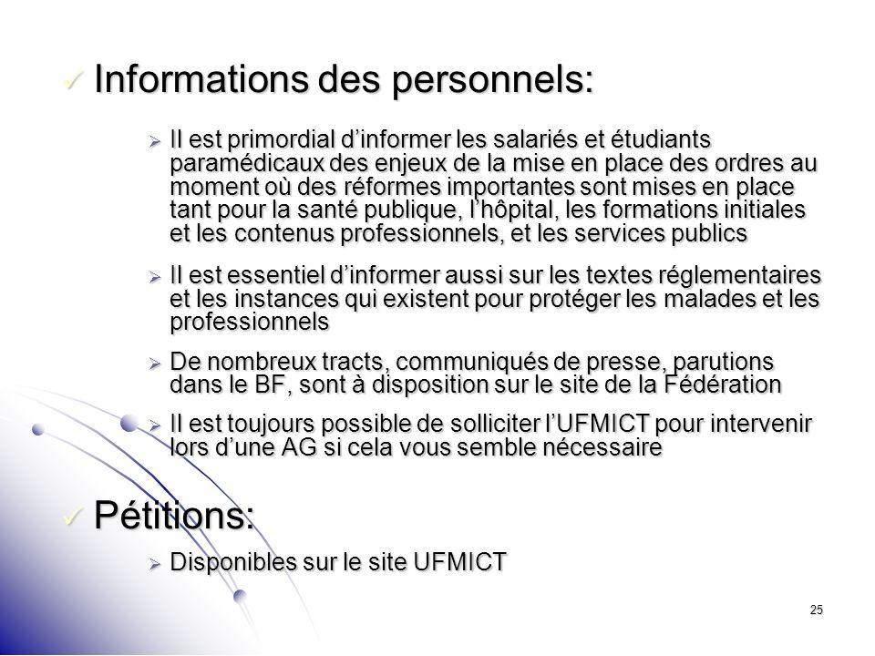 25 Informations des personnels: Informations des personnels: Il est primordial dinformer les salariés et étudiants paramédicaux des enjeux de la mise